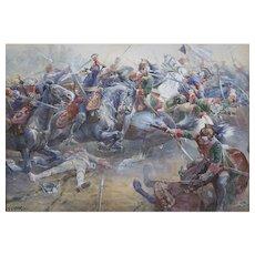 C. Clark French Battle Scene, Battle of Dettingen Watercolor
