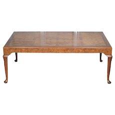 Baker Mid Century Burled Walnut Coffee Table