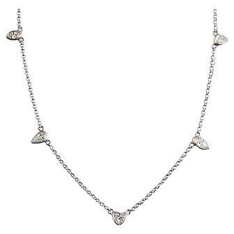 Custom Designed Platinum and Shaped Diamond Chain Necklace
