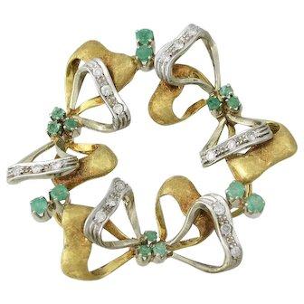 Vintage Italian 18K Gold Emerald and Diamond Brooch