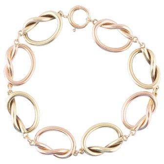 Retro 14K Rose & Yellow Gold Pretzel Knot Bracelet