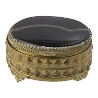 Victorian Brass & Agate Oval Box