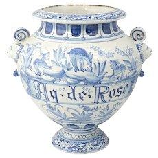 19th C. Italian Tin Glazed Earthenware Wet Drug Jar