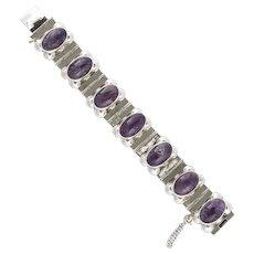 Vintage Mexican Sterling Cabochon Amethyst Link Bracelet
