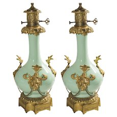 Pair French Renaissance Revival Bronze & Porcelain Lamps