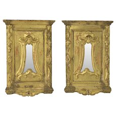 Pair Of 19th Century Carved Gilt Wood Baroque Style Mirrors