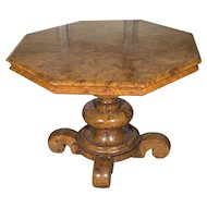 19th Century Burled Walnut Classical Center Table