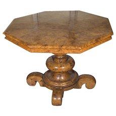 19th Century Burled Walnut Classical Center Table