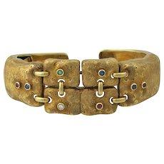 Italian 18K Gold Hinged Gemstone Bangle Bracelet