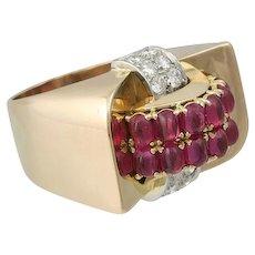 Large 18K Rose Gold Ruby Diamond Retro Ring