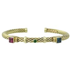 David Yurman 14K Gold Cable Tourmaline Bangle Bracelet