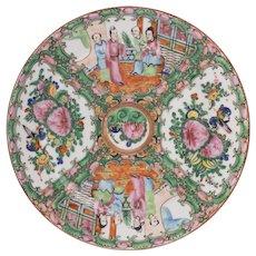 7 Chinese Rose Medallion Plates, 19th Century