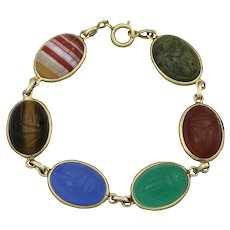 Vintage 14K Gold Large Carved Scarab Bracelet