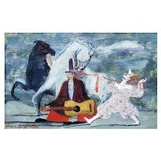 """Jean De Botton French Oil on Board """"Clowns en Liberte"""" 1946"""