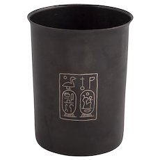 Ancient Egyptian Style Bronze Cup With Silver Inlay