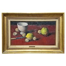 Charrat Oil on Canvas Painting Modernist Still Life Pears