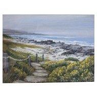 "Elena Maza Seascape Pastel on Paper, ""Pebble Beach"""