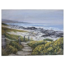 "Elena Maza Seascape Pastel on Paper, ""Pebble Beach"""