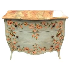 Vintage Italian Faux Painted Baroque Style Chest