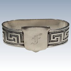 "Gorham Sterling Silver Neoclassical Napkin Ring ""F"""