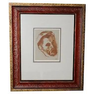 Signed Sepia Watercolor Study of a Man's Head 17th/18th C