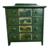 Miniature 19th C. Painted Chest Scenic Panels
