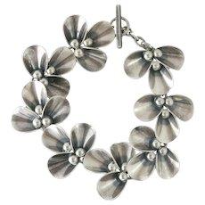 N.E. From Denmark Modernist Sterling Silver Floral Toggle Bracelet