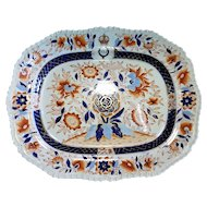 English Large Imari Porcelain Platter 19th C.