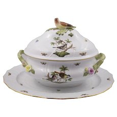 Herend Rothschild Large Covered Tureen With Underplate
