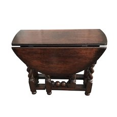 18th C. Diminutive English Oak Gate Leg Table