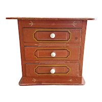 American Miniature Painted Three Drawer Chest