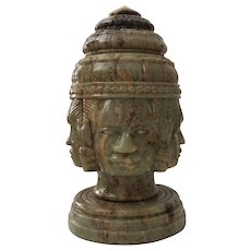 Carved Hard Stone Southeast Asian Head Sculpture