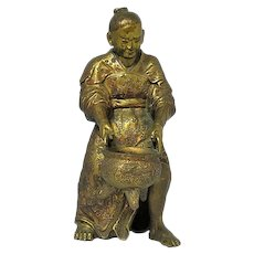 Japanese Meiji Period Gilt Bronze Figure