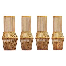 Four Slatted Wood Cantilevered Chairs