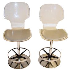 Pair Of 1970's Lucite and Chrome Stools