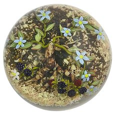 Jim Donofrio Modern American Glass Paperweight With Flowers & Black Berries