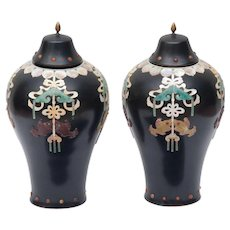 Pair Of Chinese Lacquer Vases With Inlay