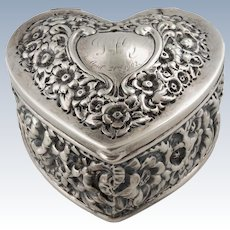 Victorian J.E. Caldwell Sterling Silver Repousse Heart Box