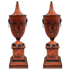 Pair Vintage Italian Tole Urn Form Lamps