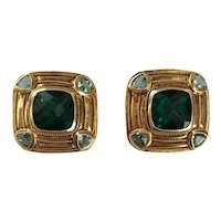 18K Gold Tourmaline & Blue Topaz Clip Earrings