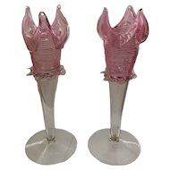 Pair Vintage Italian Venetian Glass Floriform Vases
