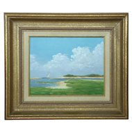 Kenneth Milton Oil on Board, Outer Banks, NC, Sandspit