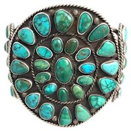 Native American Silver & Turquoise Navajo Cuff Bracelet