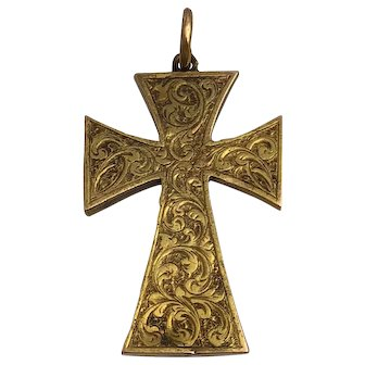 Victorian 14K Gold Two Sided Engraved Cross Pendant