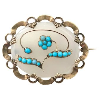 Victorian 14K Gold Persian Turquoise Agate Brooch