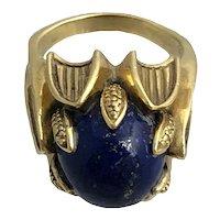Mid Century 18K Gold Lapis Lazuli Cocktail Ring