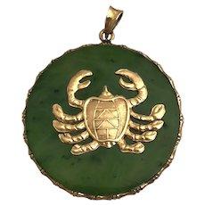 Vintage 14K Gold Jade Crab Zodiac Charm Pendant