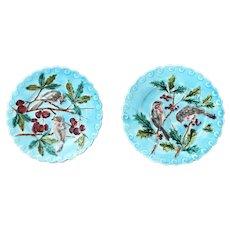 Pair Antique French Sarreguemines Majolica Plates