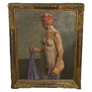 20th Century Oil On Canvas, Nude Woman