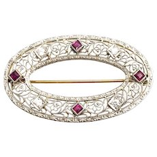 Early Krementz 14K W & Y Gold Ruby Diamond Filigree Pin